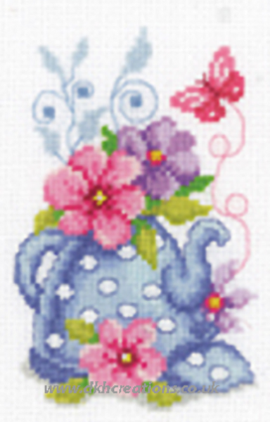 Blue Teapot With Flowers Cross Stitch Kit